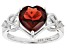 Heart Shape Red Garnet Rhodium Over Sterling Silver Ring 2.26ctw