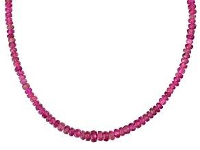Pink Tourmaline Sterling Silver Bead Necklace Approximately 50.00ctw
