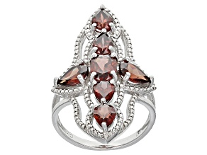 Red Zircon Sterling Silver Ring 5.62ctw