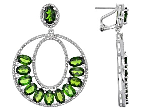 Green Chrome Diopside Sterling Silver Earrings 10.44ctw