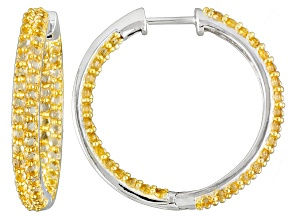 Yellow Citrine Sterling Silver Hoop Earrings 4.75ctw