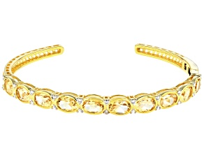 Yellow Citrine Gold Over Sterling Silver Bangle 6.99ctw
