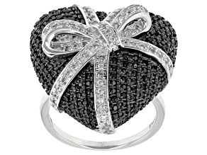 Black Spinel Sterling Silver Heart Ring 1.52ctw