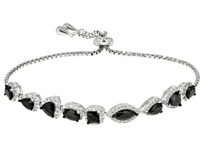 Black Spinel Rhodium Over Sterling Silver Bracelet 5.01ctw
