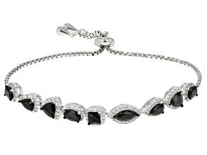 Black Spinel Rhodium Over Sterling Silver Bracelet 5.01ctw