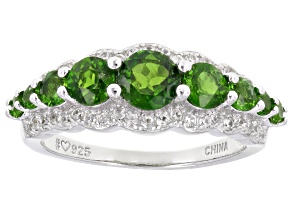Green Chrome Diopside Rhodium Over Sterling Silver Ring 1.67ctw