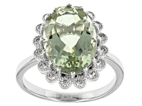 Green Prasiolite Sterling Silver Ring 5.29ctw