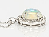 Ethiopian Opal Sterling Silver Pendant With Chain 3.30ctw