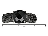 Black Spinel Sterling Silver Ring 2.92ctw