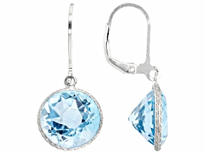 Blue Topaz Rhodium Over Sterling Silver Earrings 15.00ctw