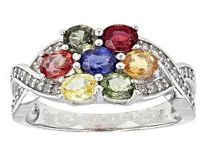 Multi Sapphire Sterling Silver Ring 1.88ctw