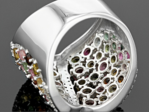 Multi Tourmaline Rhodium Over Sterling Silver Band Ring 5.00ctw