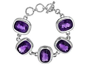 Purple Amethyst Sterling Silver Bracelet 48.00ctw