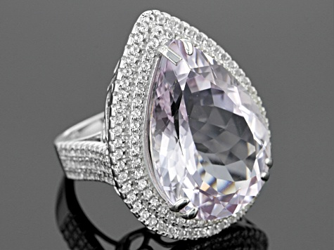Rose de France Amethyst Sterling Silver Ring 21.50ctw