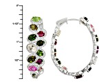 Multi Tourmaline Rhodium Over Sterling Silver Earrings 14.00ctw