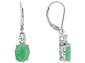 Green Emerald Sterling Silver Earrings 3.76ctw