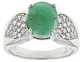 Green Emerald And White Zircon Sterling Silver Ring 3.42ctw
