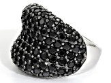 Black Spinel Sterling Silver Ring 7.00ctw