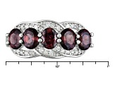 Red And White Zircon Sterling Silver Ring 2.92ctw