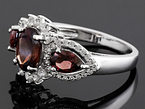 Red Zircon Sterling Silver Ring 3.64ctw