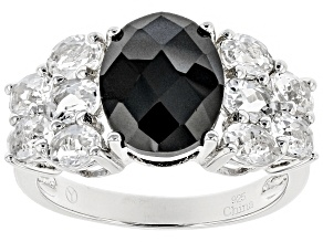 Black Spinel Sterling Silver Ring 5.44ctw