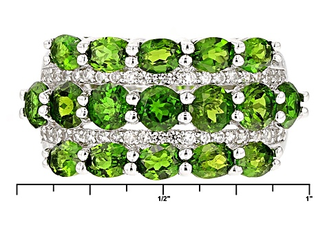 Green Chrome Diopside Sterling Silver Ring 4.25ctw