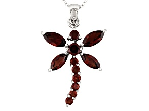 Red Garnet Rhodium Over Sterling Silver Dragonfly Pendant With Chain 2.90ctw
