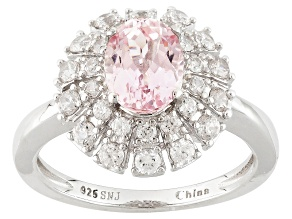 Pink Kunzite And White Zircon Sterling Silver Ring 2.40ctw