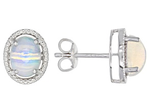 Ethiopian Opal Rhodium Over Sterling Silver Earrings 1.42ctw