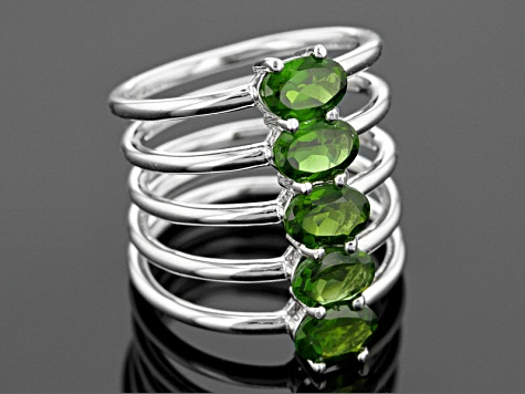 Green Chrome Diopside Sterling Silver Ring 2.48ctw