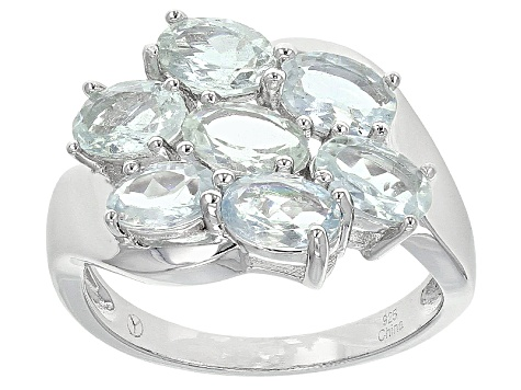 Blue Aquamarine Sterling Silver Ring 2.82ctw