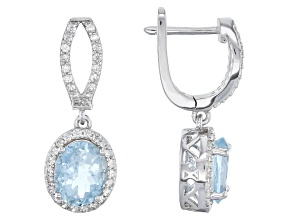 Blue Aquamarine Sterling Silver Earrings 3.89ctw