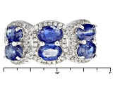 Blue Kyanite And White Zircon Sterling Silver Ring 4.78ctw