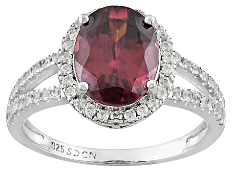 Red Zircon Sterling Silver Ring 4.29ctw