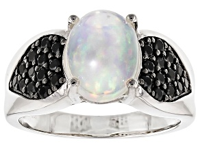 Ethiopian Opal And Black Spinel Sterling Silver Ring 2.51ctw
