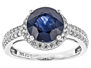 Mahaleo Sapphire And White Zircon Sterling Silver Ring 4.97ctw
