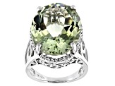 Green Prasiolite Rhodium Over Silver Ring 18.67ctw