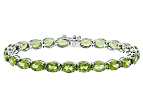 Green Peridot Rhodium Over Sterling Silver Bracelet 20.15ctw