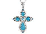 Blue Turquoise Rhodium Over Sterling Silver Enhancer With Chain .66ctw