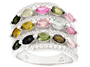 Multi-Color Tourmaline Sterling Silver Band Ring 3.80ctw