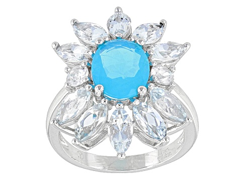 Blue Ethiopian Opal Sterling Silver Ring 3.35ctw