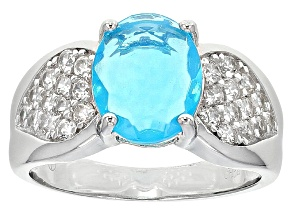 Blue Ethiopian Opal Sterling Silver Ring 2.69ctw