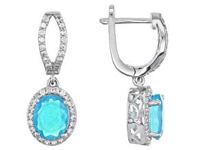 Blue Ethiopian Opal Sterling Silver Earrings 3.28ctw