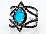 Blue Ethiopian Opal Sterling Silver Ring 2.32ctw