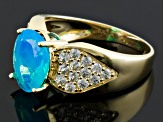 Blue Ethiopian Opal 10k Yellow Gold Ring 2.69ctw