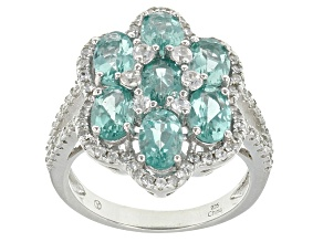 Blue Apatite And White Zircon Sterling Silver Ring 4.33ctw
