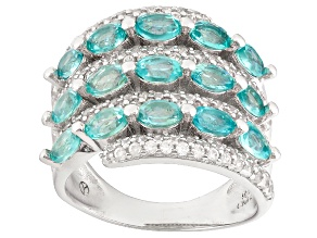 Blue Apatite Sterling Silver Band Ring 3.70ctw