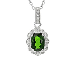 Green Chrome Diopside Rhodium Over Sterling Silver Pendant 1.21ctw