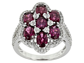 Raspberry Color Rhodolite Sterling Silver Ring 4.38ctw
