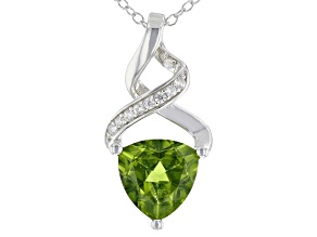 Green Peridot Rhodium Over Sterling Silver Pendant With Chain 2.51ctw